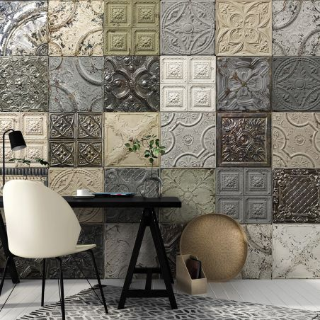 Panoramic wallpaper victorian tin tiles patchwork mix 002