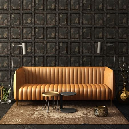 English antique wood paneling wallpaper - charcoal black
