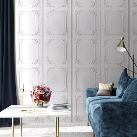 Greyish white Louis XV panelling wallpaper