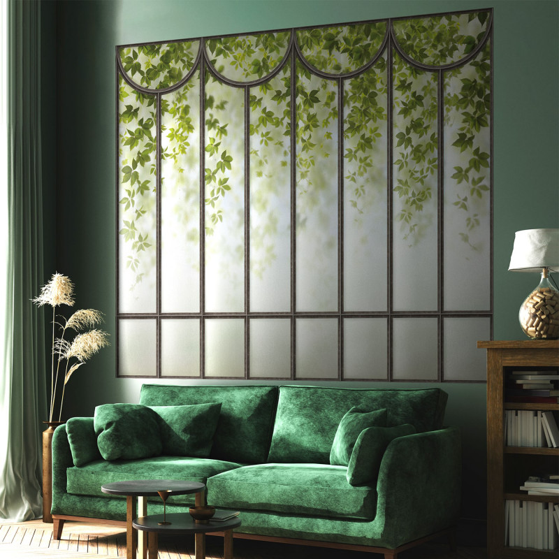 Romantic Green Loft Windows Wall Mural