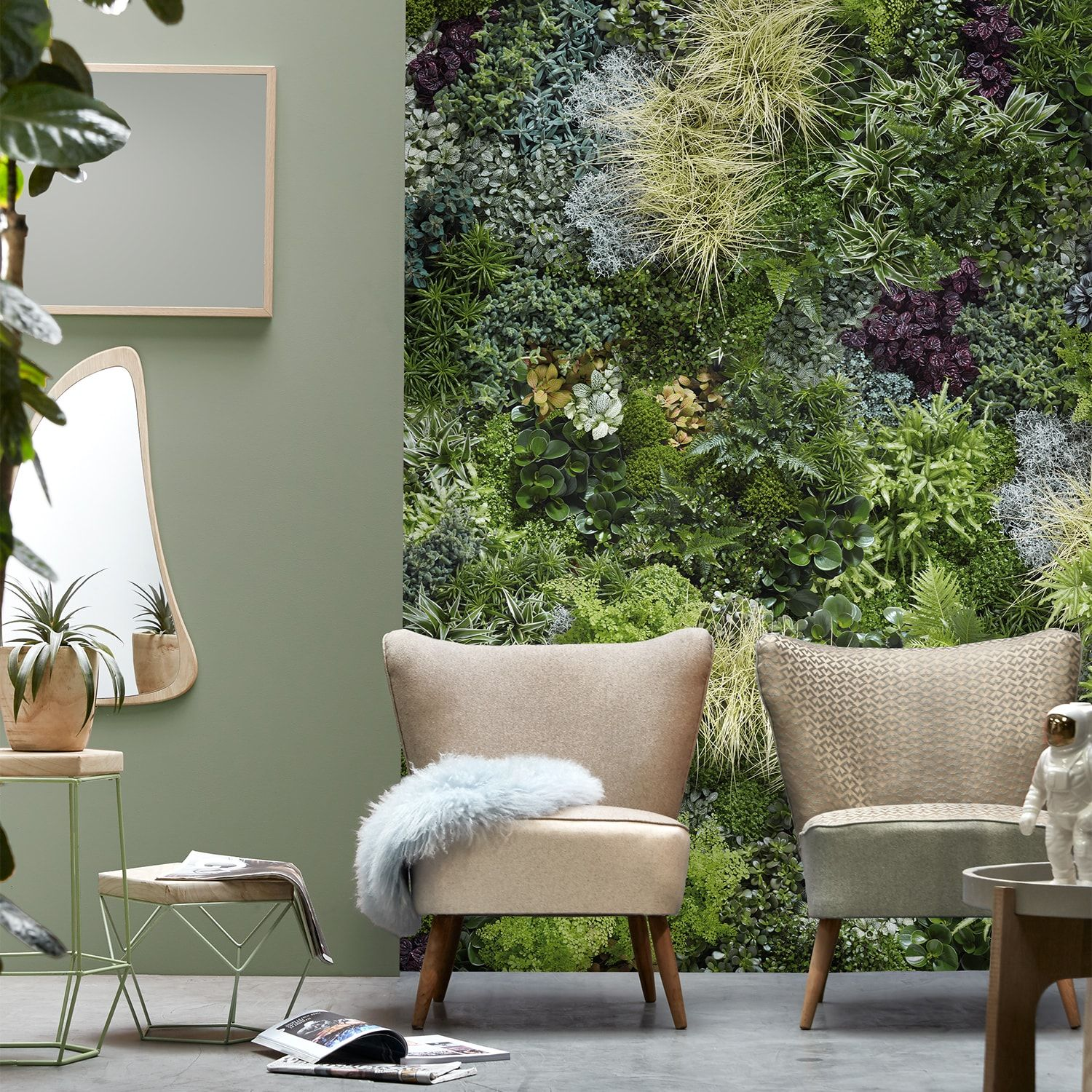 Wide Panoramic Mix Green Wall Mural Softened