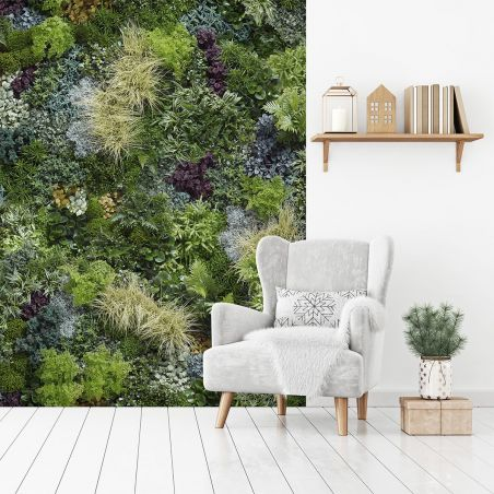 Wide panoramic mix green wall mural