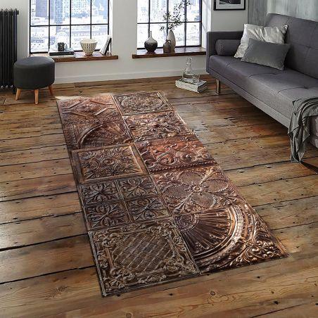 Copper spirit antic tin tiles vinyl rug Ella - Runner size