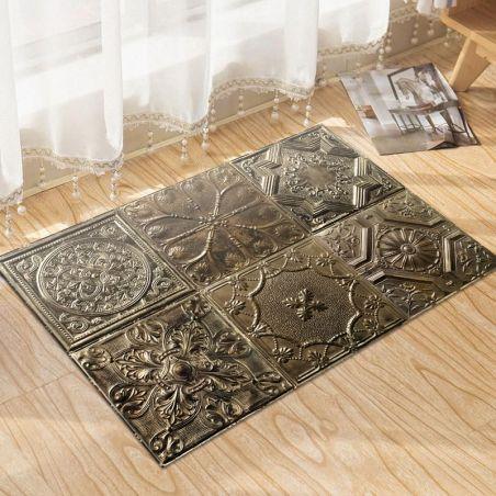 Bronze Spirit tin tiles vinyl rug Noella