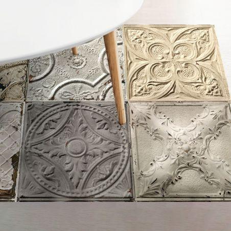 Patchwork antic tin tiles vinyl rug Mix Silvia