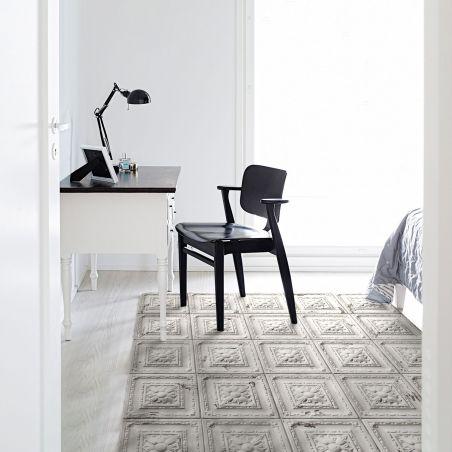 Off white antic tin tiles vinyl rug Emma - Wide size