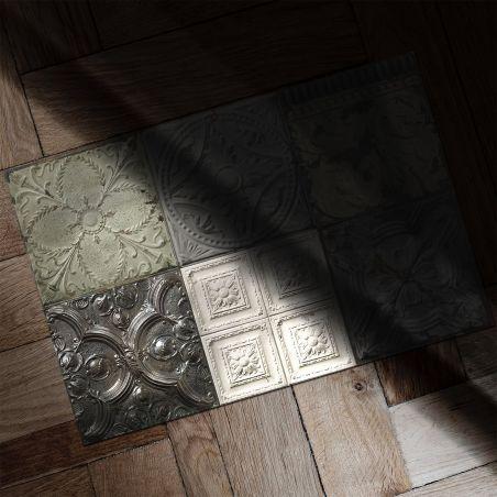Patchwork antic tin tiles vinyl rug Mix Victoria