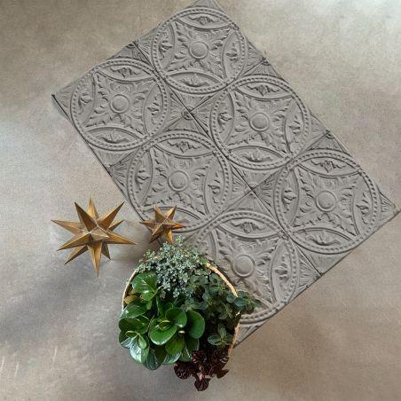 Mid grey Tin tiles Vinyl rug Matilda