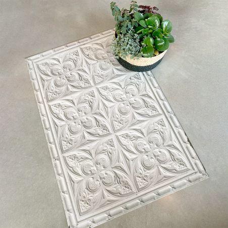 Off white antic tin tiles vinyl rug Aria