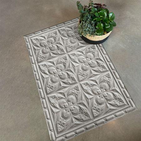 Mid grey antic tin tiles vinyl rug Alexa