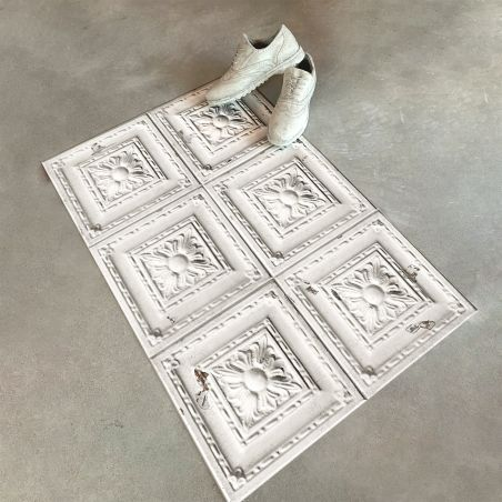 Off white antic tin tiles vinyl rug Emma