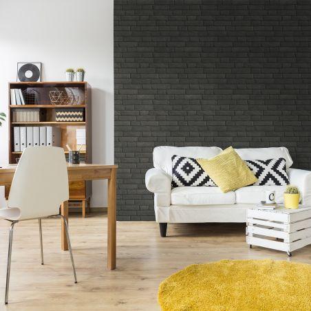 Papier peint briques grises anthracites à joints noirs