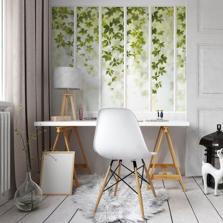 Panoramic wallpaper white small loft windows and virginia creeper