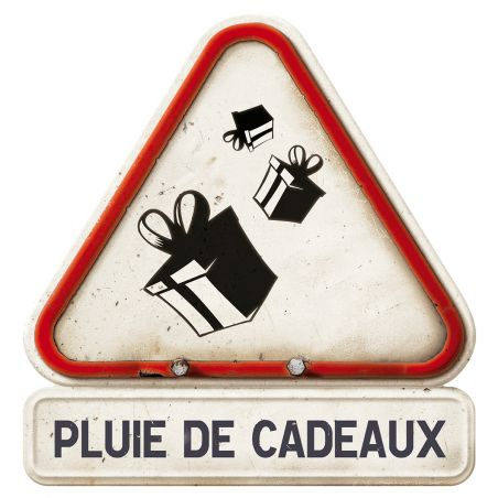 """Pancarte """"Attention ! Pluie de cadeaux"""""""