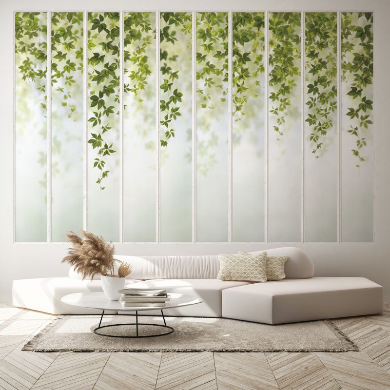 Panoramic Wallpaper White Wide Loft Windows And Virginia Creeper Images, Photos, Reviews