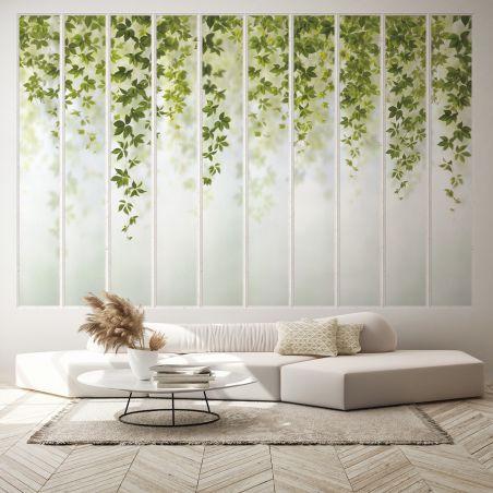 Panoramic wallpaper white wide loft windows and virginia creeper