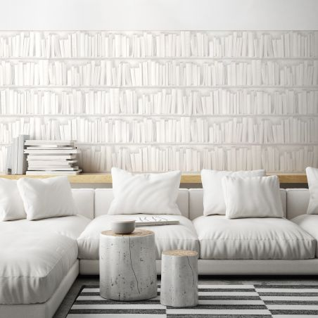 Papier peint bibliothèque blanche