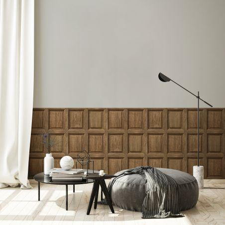 Dark oak wood english paneling wallpaper