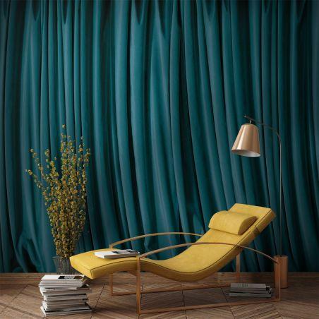 Blue curtain panoramic mural