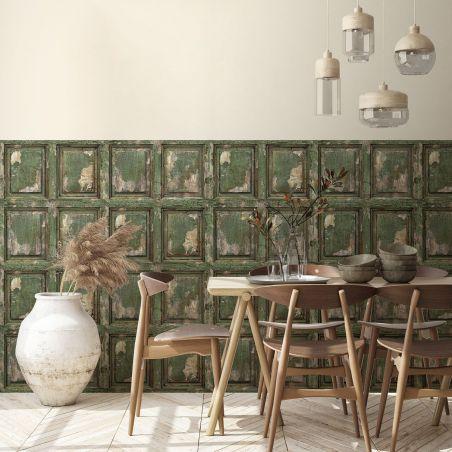 English antique wood paneling wallpaper - khaki green