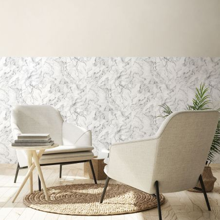 Papier peint marbre blanc grisé