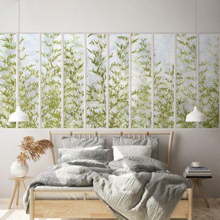 Papier peint panoramique petite verrière blanche et bambous