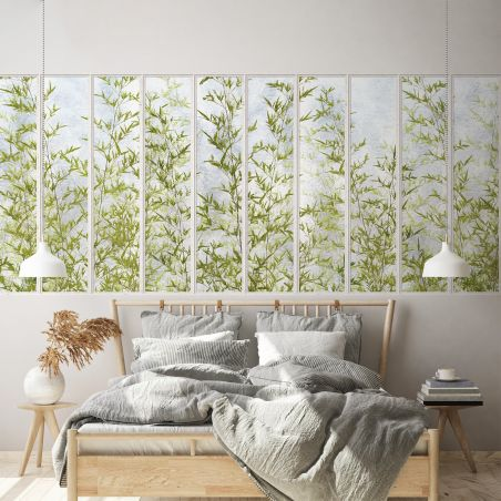 Panoramic wallpaper white small loft windows and bamboos