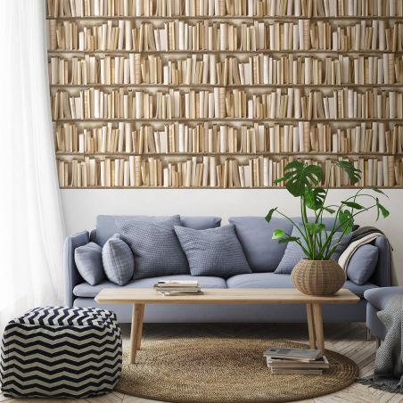 Ivory bookshelves wallpaper