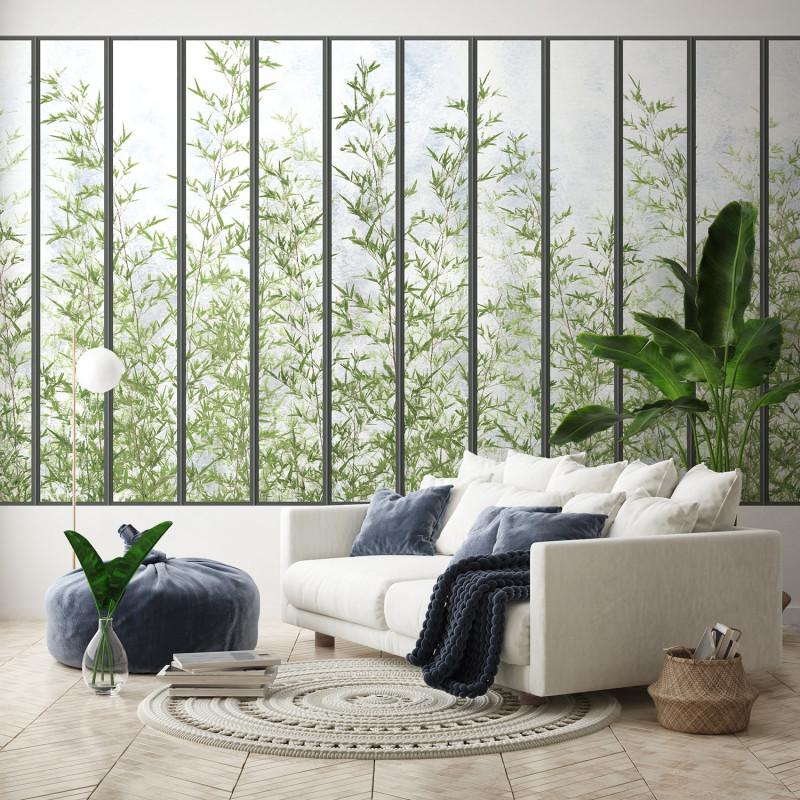 Papier Peint Panoramique Grande Verriere Noire Et Bambous