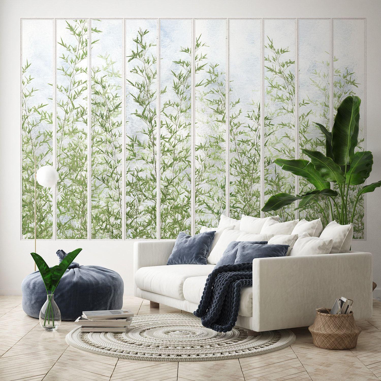 Papier Peint Panoramique Noir Et Blanc papier peint panoramique grande verrière blanche et bambous