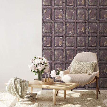 English antique wood paneling wallpaper - purple
