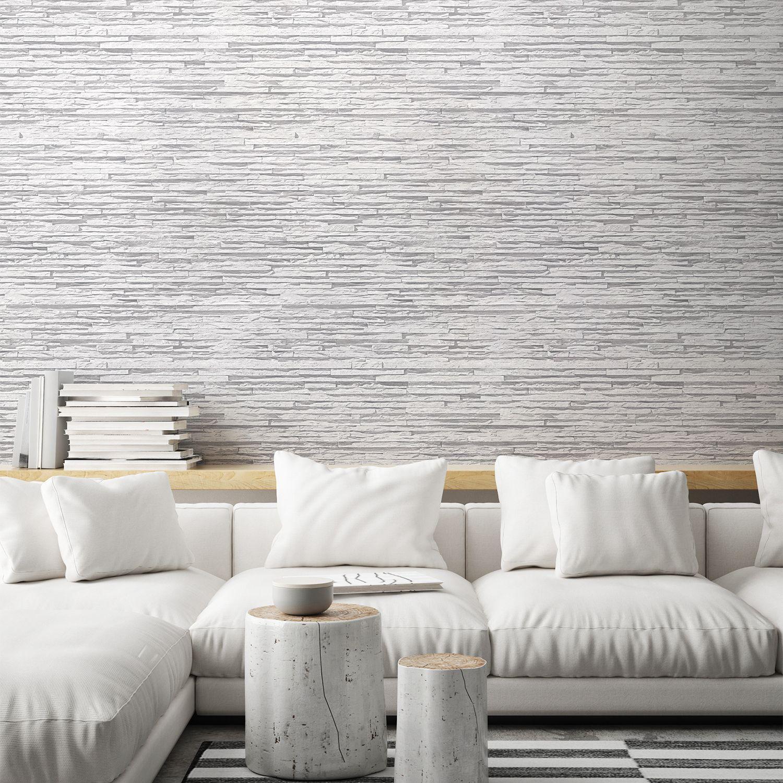 Frise Murale Damier Noir Et Blanc papier peint basalte en strates blanc grisé
