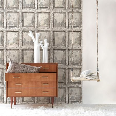 English antique wood paneling wallpaper - off white
