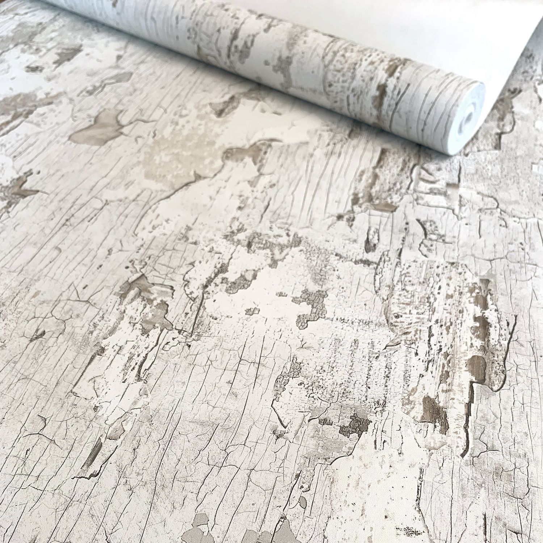 Peindre Poutres Anciennes Blanc papier peint peinture écaillée blanche