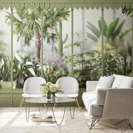Décor panoramique jardin d'hiver serre vert tilleul - serie 1
