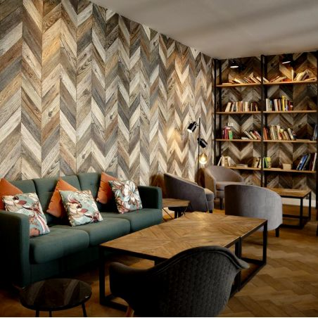 Strip of antique wood chevron wallpaper