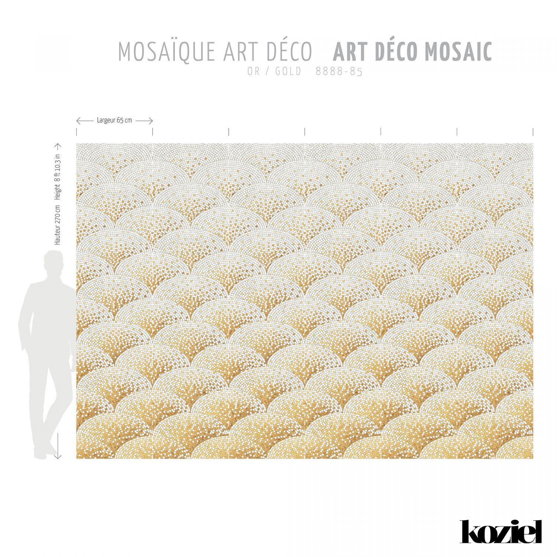 Papier Peint Art Deco Blanc papier peint mosaïque art déco - or