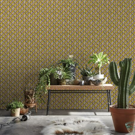"Yellow macrame ""Majorelle scent"" wallpaper by Laurentine Périlhou"