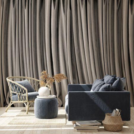Grey curtain panoramic mural