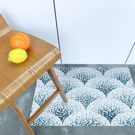 Blue mosaic Art Deco vinyl rug