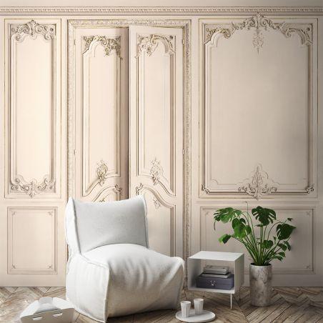 Panoramic wallpaper Haussmann-style apartment wood panelling. Linen kit