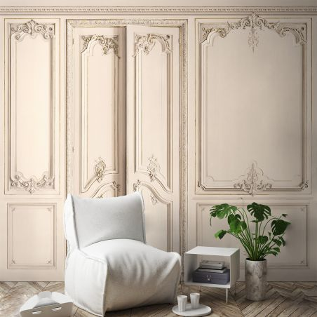 Panoramic wallpaper Haussmann-style apartment wood panelling. Linen kit