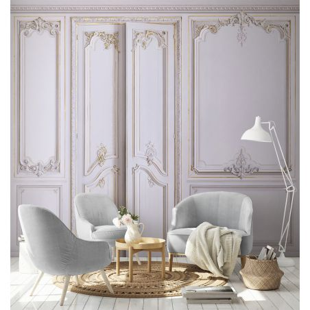 Panoramic wallpaper Haussmann-style apartment wood panelling. Wisteria kit.