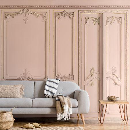 Panoramic wallpaper Haussmann-style apartment wood panelling. Pink nymphea kit