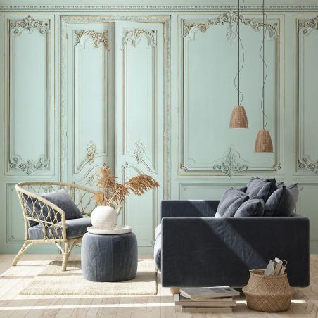 Panoramic wallpaper Haussmann-style apartment wood panelling. Green water kit