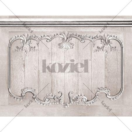 Décor mural soubassement boiseries Louis XV chêne gris