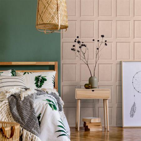 English wood paneling wallpaper - Salmon pink