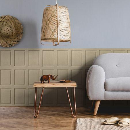 English wood paneling wallpaper - Latte