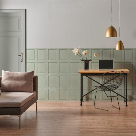 English wood paneling wallpaper - Lovat green