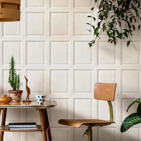 English wood paneling wallpaper - Porcelaine white